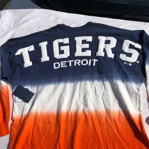 Detroit Tiger Shirt Tie Dye Ombre Long Sleeve LS